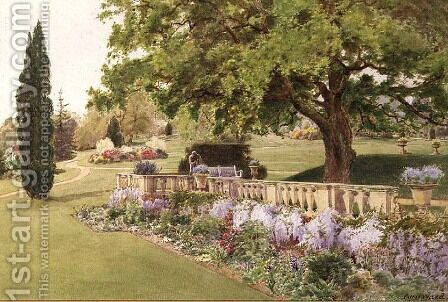 Formal Gardens seen from the Herbaceous Border by Cyril Ward - Reproduction Oil Painting