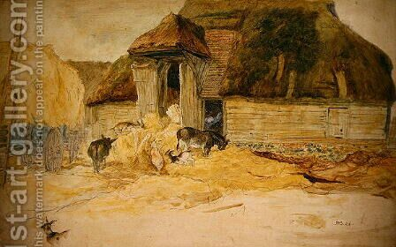 Animals Before a Thatched Barn by James Ward - Reproduction Oil Painting