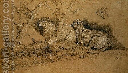 Sheep Resting in a Wooded Copse and a Study of the Head of a Sheep by James Ward - Reproduction Oil Painting