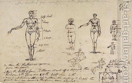 Studies of anatomy with measurements and writing by James Ward - Reproduction Oil Painting