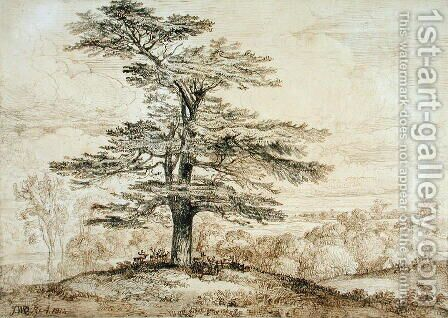 A Cedar on a Rise with a Herd of Deer Grouped Beneath its Shade, 1814 by James Ward - Reproduction Oil Painting
