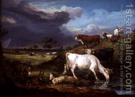 Cattle, Donkeys and Pigs by a Pool by James Ward - Reproduction Oil Painting