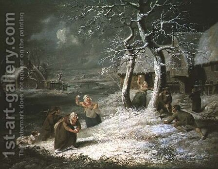 Peasants Snowballing, c.1790 by James Ward - Reproduction Oil Painting