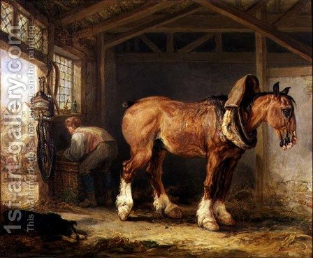 A groom with carthorse in a stable by James Ward - Reproduction Oil Painting