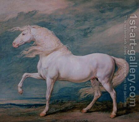 Adonis, a white stallion by James Ward - Reproduction Oil Painting