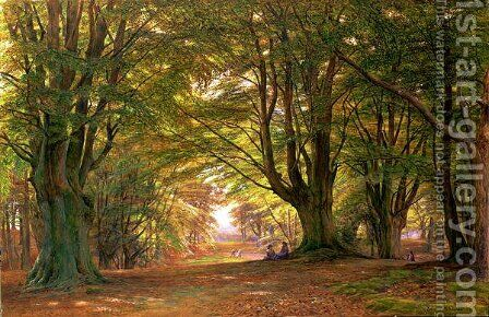 Playing in the beech wood, 1876 by Edmund George Warren - Reproduction Oil Painting