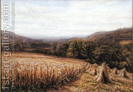 Harvest Time near Ashburton, 1884 by Edmund George Warren - Reproduction Oil Painting