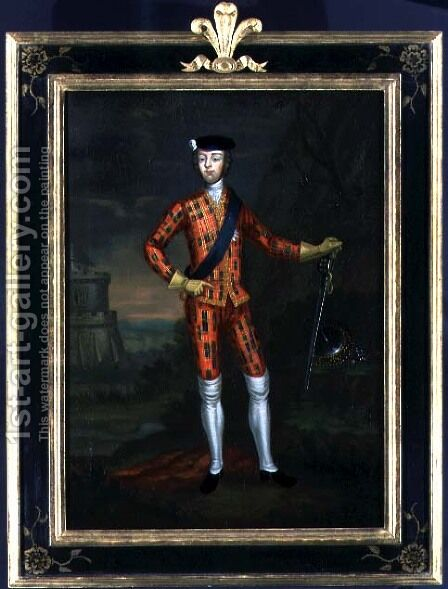 Harlequin Portrait of Bonnie Prince Charlie, c.1745 by James Wasdail (or Worsdale) - Reproduction Oil Painting