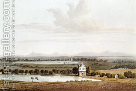 Second view looking north from the Pagoda near Conjeveram, from 'Journal of a Voyage in 1811 and 1812 to Madras and China, engraved by J. Clark, published 1814 by (after) Wathen, James - Reproduction Oil Painting