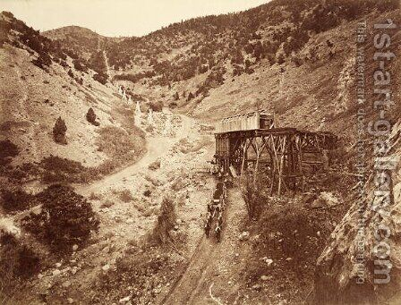 Chicago Hoisting Works, Dry Canyon, USA, 1861-75 by Carleton Emmons Watkins - Reproduction Oil Painting