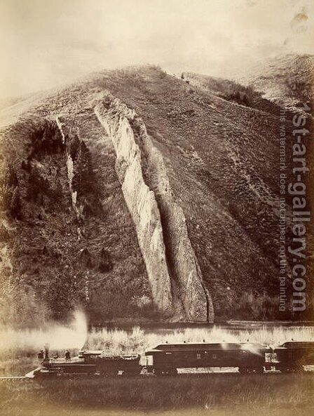 The Devils Slide, Union Pacific Railroad, Utah, 1880 by Carleton Emmons Watkins - Reproduction Oil Painting