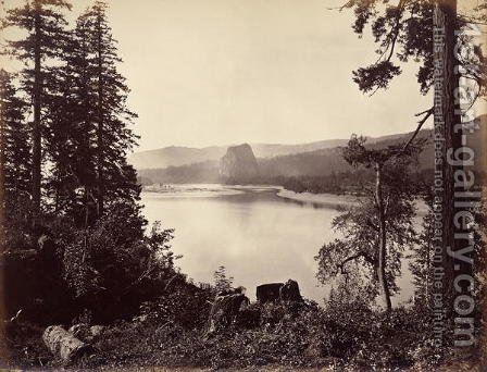 Beacon Rock, Columbia River, USA, 1867 by Carleton Emmons Watkins - Reproduction Oil Painting