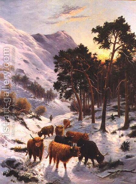 Highland Cattle in a Winter Landscape by Charles Watson - Reproduction Oil Painting