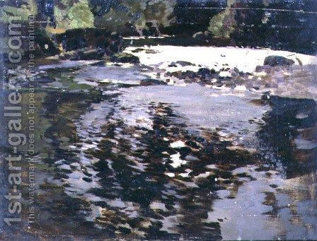 Sunlight reflected upon a wide riverscape by Harry Watson - Reproduction Oil Painting