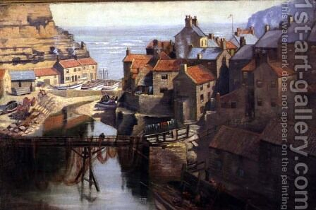 Staithes Village, North Yorkshire by James Watson - Reproduction Oil Painting