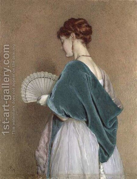 Woman with a Fan, 1871 by James Dawson Watson - Reproduction Oil Painting