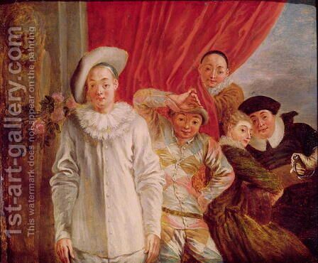 Actors of the Comedie Italienne by (after) Watteau, Jean Antoine - Reproduction Oil Painting