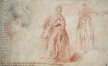 Rear View of Two Women and the Head of a Woman, 1723 by (after) Watteau, Jean Antoine - Reproduction Oil Painting