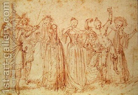 Group of Comic and Tragic Actors by (attr. to) Watteau, Jean Antoine - Reproduction Oil Painting
