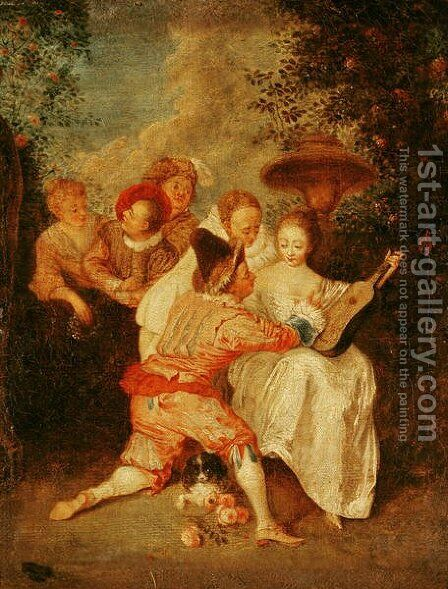 The Storyteller by (attr. to) Watteau, Jean Antoine - Reproduction Oil Painting