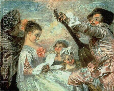The Music Lesson by (attr. to) Watteau, Jean Antoine - Reproduction Oil Painting