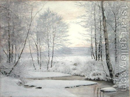 Winter Sunset by James Thomas Watts - Reproduction Oil Painting