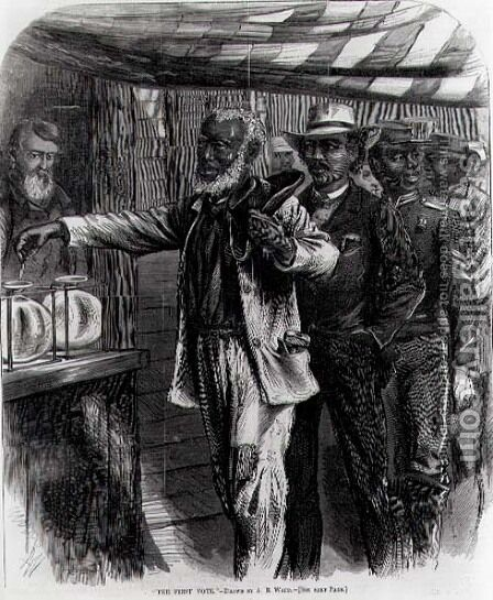 The First Vote, from Harpers Weekly, 1867 by Alfred R. Waud - Reproduction Oil Painting