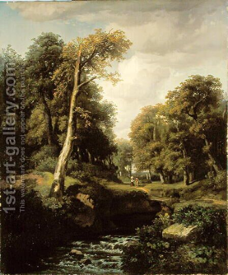 Landscape, 1850 by August Weber - Reproduction Oil Painting