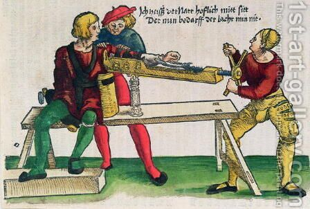 Apparatus for healing arm fractures, illustration from the Feldtbuch der Wundartzney by Hans von Gersdorff, c.1540 by Hans or Johannes Ulrich Wechtlin - Reproduction Oil Painting