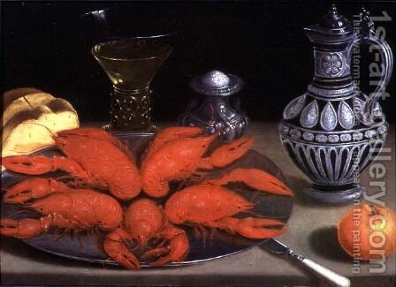 Still-life with crayfish, a roemer and a ewer by Gotthardt von Wedig - Reproduction Oil Painting