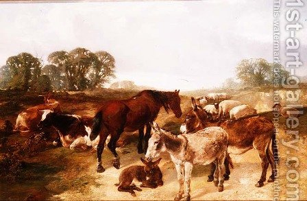 A gathering on Hampstead Heath by Henry Weekes - Reproduction Oil Painting