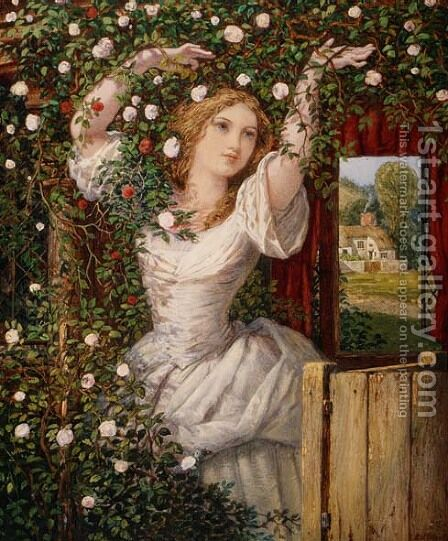 The Rose Bower by Edward Henry Wehnert - Reproduction Oil Painting