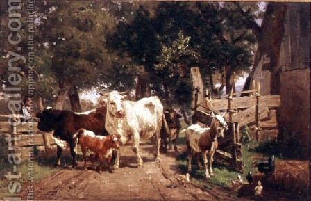A Farmyard Scene by Eduard Weichberger - Reproduction Oil Painting