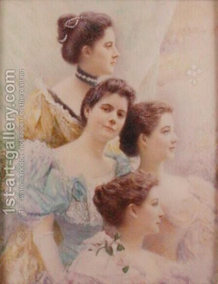 The Daughters of Bishop Reginald Heber (1783-1826), c.1895 by Carl and Frederika Weidner - Reproduction Oil Painting