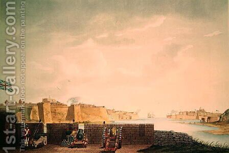 View of La Valletta, engraved by Francis Chesham, 1803 by (after) Weir, Captain James - Reproduction Oil Painting