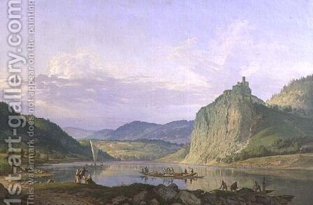 View of the Castle of Strekov with the River Elbe, 1839 by Carl Robert Croll - Reproduction Oil Painting