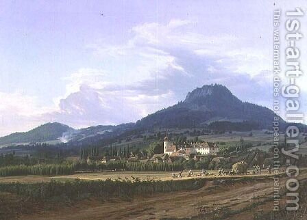 View of Libesice Castle, 1841 or 1844 by Carl Robert Croll - Reproduction Oil Painting