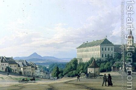 Roudnice Castle from the Town, 1840 by Carl Robert Croll - Reproduction Oil Painting