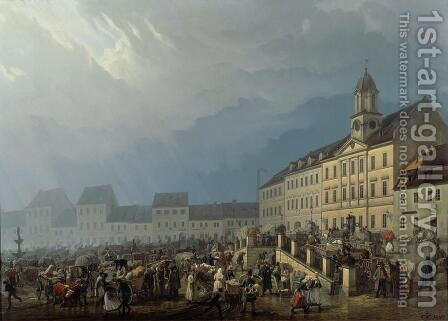 Market Place at Teplice in a Rain Storm, 1843 by Carl Robert Croll - Reproduction Oil Painting