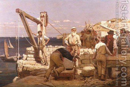 Quarrymen of Purbeck by Henry Tanworth Wells - Reproduction Oil Painting