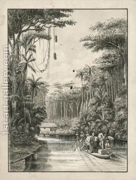Grajau River, Maranhao, Brazil, frontispiece to Volume I of Three Thousand Miles through Brazil by James William Wells - Reproduction Oil Painting