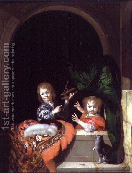 Two Children with a Mousetrap, 1692 by Adriaen Van Der Werff - Reproduction Oil Painting