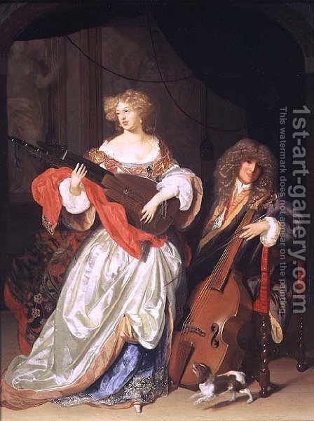 A couple making music by Adriaen Van Der Werff - Reproduction Oil Painting