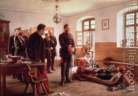 Crown Prince Frederick by the corpse of General Douay at the Battle of Wissembourg, 1870 by Anton Alexander von Werner - Reproduction Oil Painting