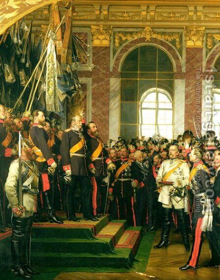 The Proclamation of Wilhelm as Kaiser of the new German Reich, in the Hall of Mirrors at Versailles on 18th January 1871, painted 1885 by Anton Alexander von Werner - Reproduction Oil Painting