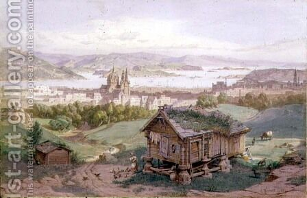 View of Christiania, 1882 by Carl Friedrich H. Werner - Reproduction Oil Painting