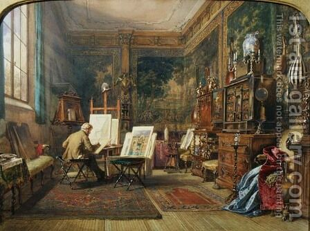 The Artist's Studio, Venice, 1855 by Carl Friedrich H. Werner - Reproduction Oil Painting