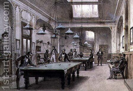 A Billiard Room, 1861 by Carl Friedrich H. Werner - Reproduction Oil Painting