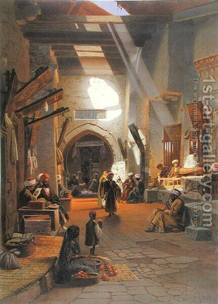 Bazaar at Girgah, one of 24 illustrations produced by G.W. Seitz, printed c.1873 by Carl Friedrich H. Werner - Reproduction Oil Painting