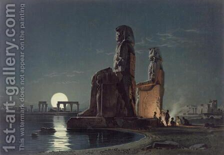 The Colossi of Memnon, Thebes, one of 24 illustrations produced by G.W. Seitz, printed c.1872 by Carl Friedrich H. Werner - Reproduction Oil Painting
